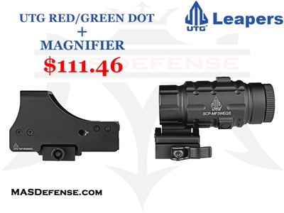 UTG RED/GREEN DOT + UTG 3X MAGNIFIER W/ FLIP TO THE SIDE - COMBO