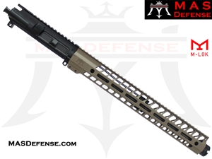 "14.5"" 5.56 / .223 AR-15 BARRELED UPPER - MAS DEFENSE NERO 15"" M-LOK RAIL - FDE - BALLISTIC ADVANTAGE BARREL"