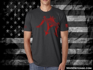 MAS DEFENSE T-SHIRT SPLATTER LOGO - CHARCOAL - LARGE