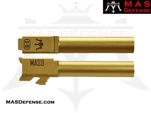 MAS DEFENSE 9MM 416R STAINLESS STEEL GLOCK 19 BARREL - GOLD (TiN) MATTE