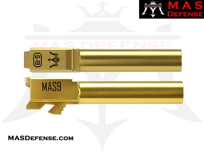 MAS DEFENSE 9MM 416R STAINLESS STEEL GLOCK 19 BARREL - RADIANT GOLD (TiN)
