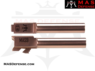 MAS DEFENSE 9MM 416R STAINLESS STEEL GLOCK 19 BARREL - RADIANT BRONZE (ROSE GOLD))